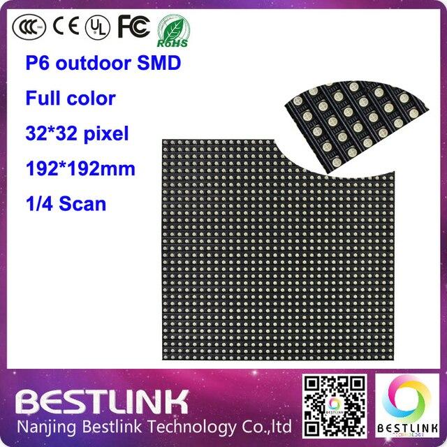 Открытый светодиодный модуль p6 SMD полноцветные светодиодные табло панели 32*32 пикселей 4 сканирования высокая яркость для наружных светодиодных кабинета светодиодных табло