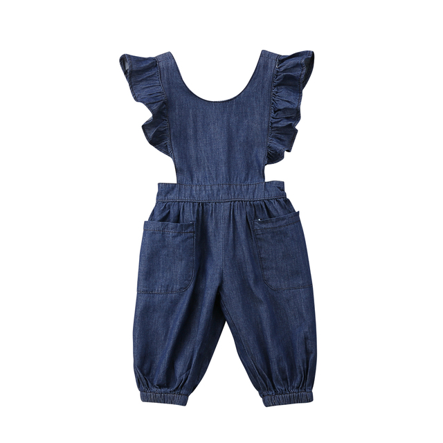 b3ca0049b2334 Newborn Toddler Baby Girl Denim Romper Ruffles Jumpsuit Outfits Sunsuit  Clothes Baby Clothing