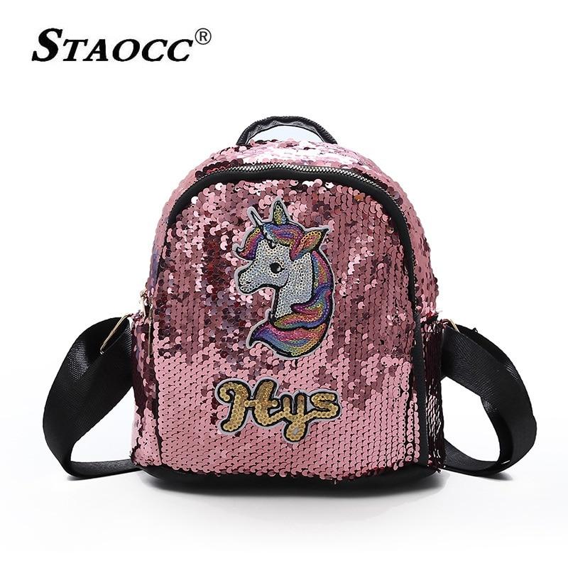 Unicorn Backpack Women Cute Mini Sequins Pu Leather Backpask School Bag For Teenage Girls Fashion Female Travel Bag Mochila Pink in Backpacks from Luggage Bags