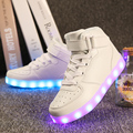 Qualidade 7 cores led crianças shoes 2017 outono inverno alta top crianças luminosos luzes crescente sneakers para meninos das meninas shoes sólida