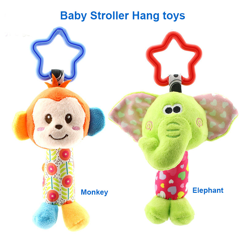 6 Styles Baby Toys Rattles Pacify Doll Plush Baby Rattles Toys Animal Hand Bells Newbron Animal elephant/monkey/lion/deer/dog