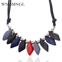 WNGMNGL 2018 New Women Necklace Statement Necklaces & Pendants Boho Geometric Colorful Wood Beads For Accessories