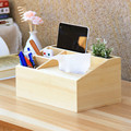 Wooden Multi-Functional Tissue Box Desk Organizer Eco-Friendly Natural Wood Storage Box Remote Controller Holder Pen Box