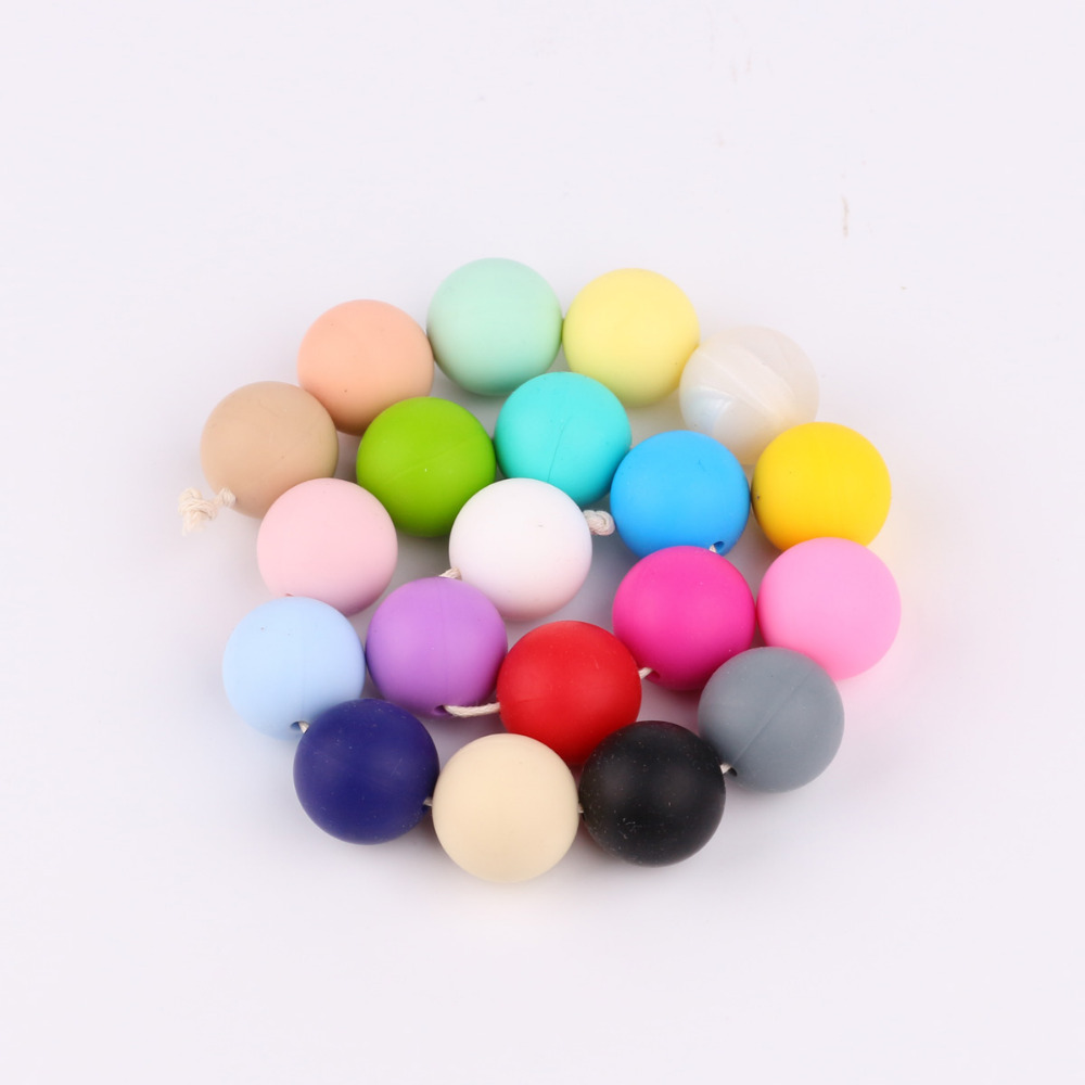TYRY.HU 10Pcs/Lot 19mm Round Shaped Beads Teething Baby Teethers DIY Necklace Pacifier Chain Food Grade Silicone  BPA Free