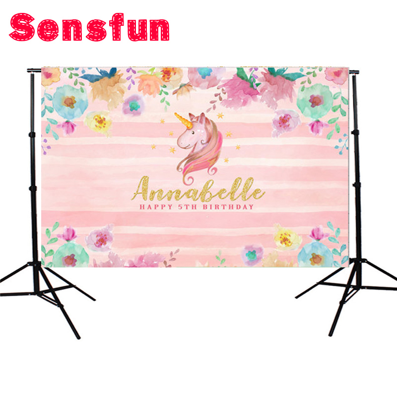 Vinyl Pink Flower Unicorn Birthday Party Custom Photo Background Studio Photography Backdrop 7x5ft sensfun where the wild things are dessert table backdrops custom photo studio backdrop background vinyl 7x5ft