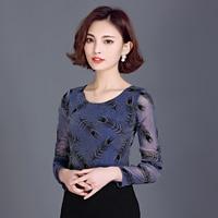 Long Sleeve Tops Mesh Yarn Fashion Basic Shirts Autumn T Shirt Women Butterfly Bright S 3XL