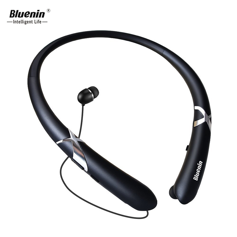 Bluenin HWS 918 Bluetooth ear phones Sport Wireless Neckband Headset Retractable Sweatproof bloototh earphone for galaxy