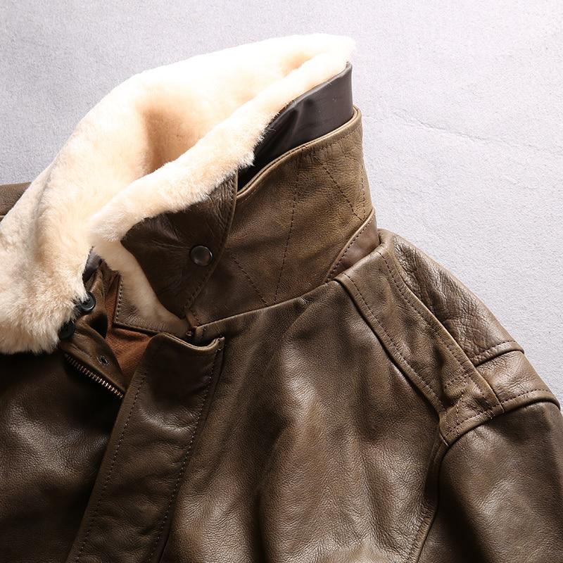 HTB1NYB4FuOSBuNjy0Fdq6zDnVXaL AVIREX FLY 2018 Genuine Leather jacket Men Bomber Jacket Fur Collar Cowskin Short Air Force Flight Jacke Vintage Winter Coat
