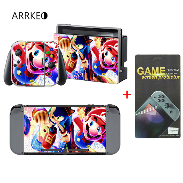 US $6 78 29% OFF|ARRKEO Super MarioKart 8 Protective Film Vinyl Decal Cover  Skin Sticker for Nintend Switch NS Console For Joy Con Controller-in