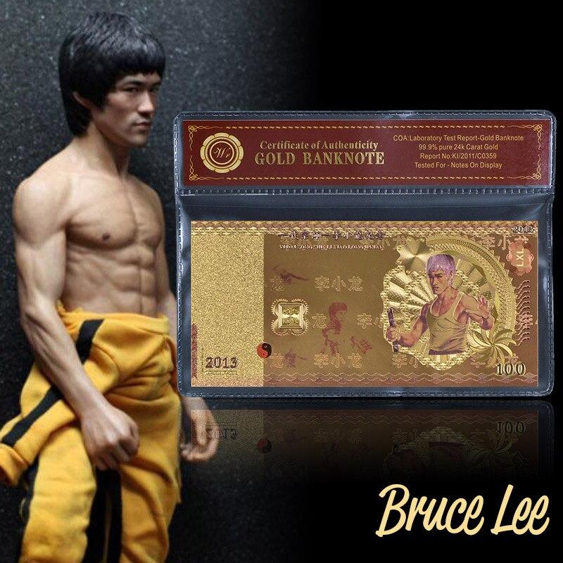 Горячая продажа Новая Металлическая Золотая банкнота Брюс Ли 100 необычная Золотая фольга цветная банкнота для ценной коллекции с рамкой VOA