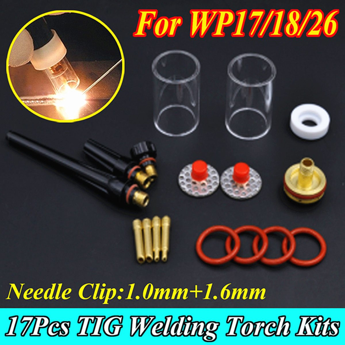 New 17Pcs TIG Welding Torch Stubby Collet Gas Lens Glass Nozzle Pryex Cup Kit with Heat-Resistant O-rings For WP-17/18/26 Series wp 17f sr 17f tig welding torch complete 13feet 4meter soldering iron flexible