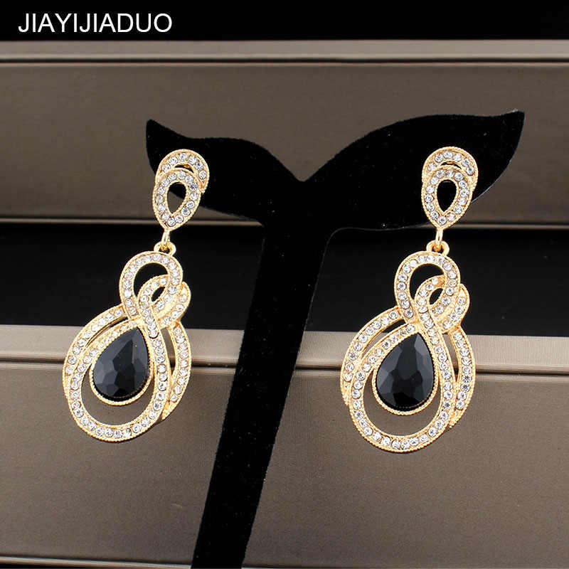 Jiayijiaudo Gold Color Earrings Women Wedding Classic Rhinestone Long Earrings Bridal Fashion Jewelry Dropshipping New