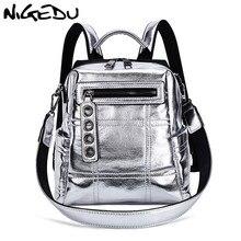 NIGEDU Glitter Backpack Women Shoulder bag Multifunction Backpacks For Teenage Girls Schoolbag Female Rucksack Travel Bag Silver