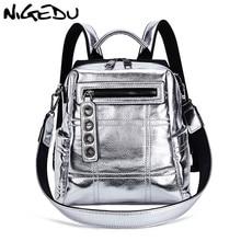 NIGEDU Glitter sırt çantası kadın omuzdan askili çanta çok fonksiyonlu gençler için sırt çantaları kızlar Schoolbag kadın sırt çantası seyahat çantası gümüş
