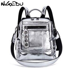 Image 1 - NIGEDU Glitter sırt çantası kadın omuzdan askili çanta çok fonksiyonlu gençler için sırt çantaları kızlar Schoolbag kadın sırt çantası seyahat çantası gümüş