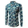 2017 новый мужчины рубашка Печатных Camonflage рубашка Армии Военный Камуфляж soical Camisa masculina Повседневная Мужская рубашка Tu215