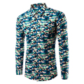 2017 Brand new men shirt Printed Camonflage Dress shirt Army Military Camo Camisa soical masculina Casual Mens dress shirt Tu215