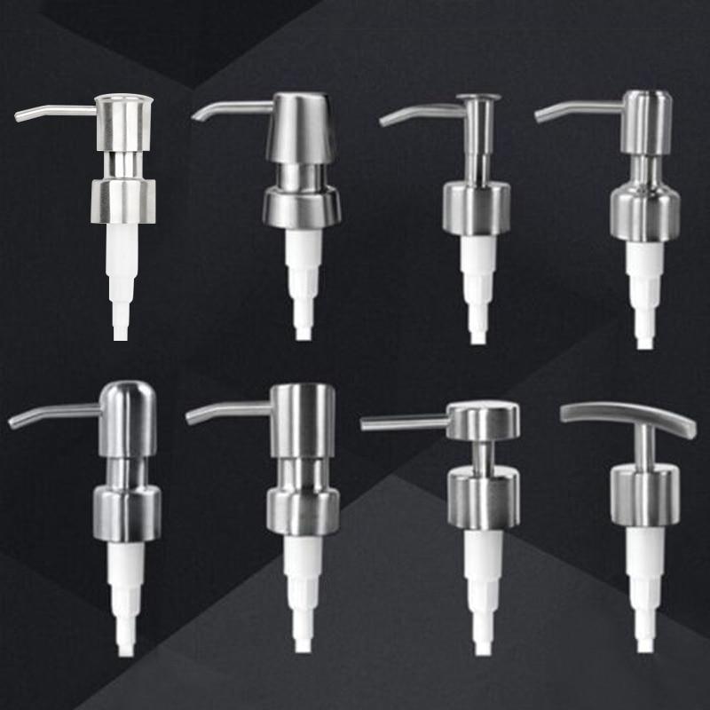1x Bathroom Stainless Steel Liquid Lotion Dispenser Head Replacement Soap Shampoo Shower Gel Pump Jar Tube Bathroom Hardware