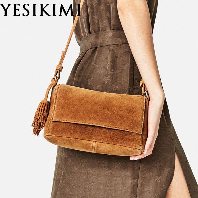 2017 New Women's Genuine Leather bags Vintage Suede Tassel Small Flap Hippie Feminine Bolsos Nubuck Leather Crossbody  Bag