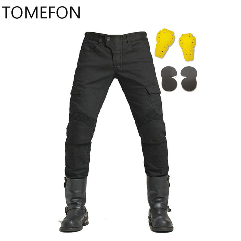 NEW 2017 MOTORPOOL USB02 KOMINE Army Green Black Slacks jeans Motorcycle ride jeans Leisure Loose Version with protect equipment new army bowie black