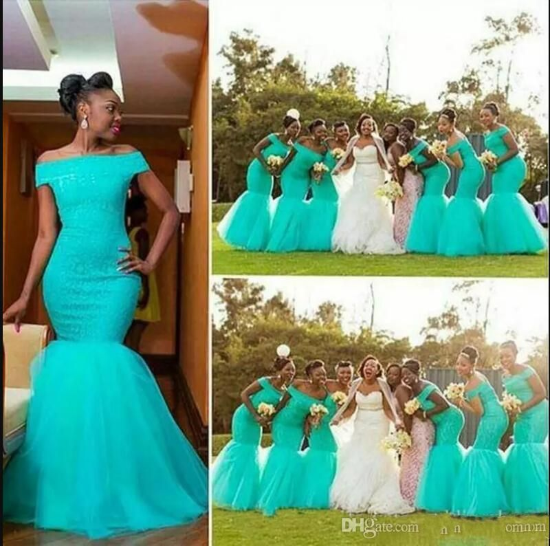 US $89.0 |Hot South Africa Style Nigerian Bridesmaid Dresses Plus Size  Mermaid Maid Of Honor Gowns For Wedding Off Shoulder Turquoise Tull-in ...