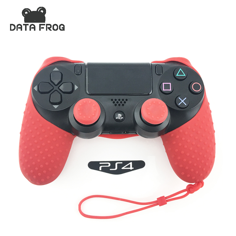 Data Frog Solid Color Silicone Gel Gummi Cases Hud til Sony Playstation 4 Controller Proctective Grip Cover til PS4 Pro Slim