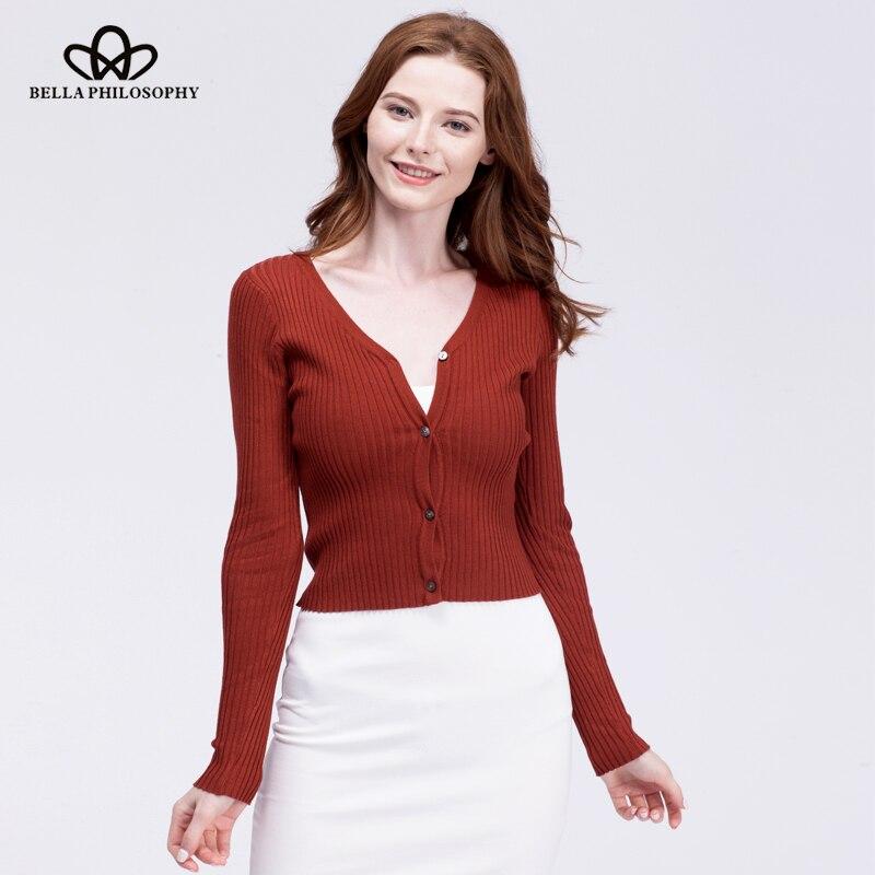 Bella Philosophy 2018 ženy jaro podzim dlouhý rukáv svetr svetr s knoflíky V krku