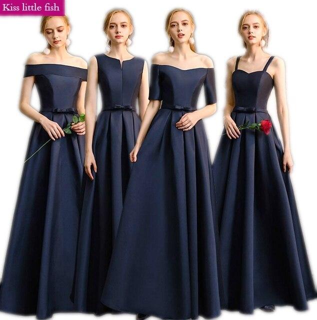 140881133de Envío Gratis mujer vestidos para fiesta Y BODA DE dama de honor vestidos  largos azul marino