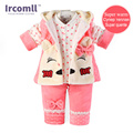 2017 Autumn and Winter Quality Baby Girl Clothing Baby Set Little Cat Vest+Coat+Pants 3 piece Suit Children bebe clothes
