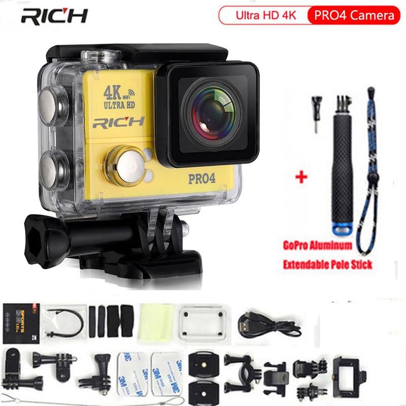 Ultra HD 4K Action camera PRO4 14MP Wifi 1080P 170 Wide Lens waterproof 45M Sport camera Extra Aluminum Extendable Pole Stick