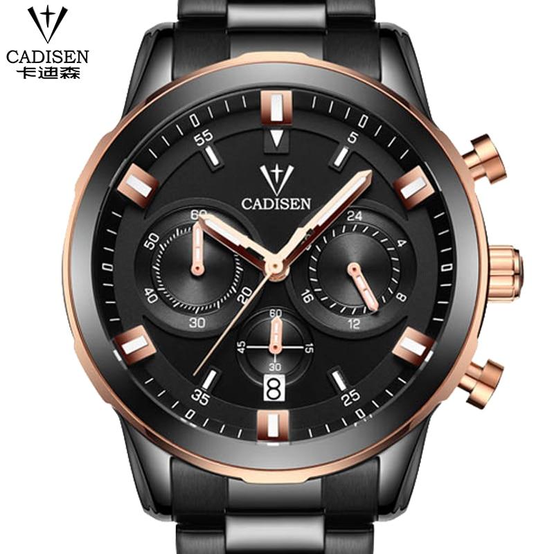 ФОТО Watches Men Luxury Brand CADISEN Fashion Men's Quartz Watch Casual Waterproof Men Full Steel Wristwatches relogio masculino