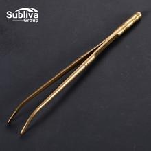 1 шт. 18 см золотой Изогнутый пинцет щипцы с удобной ребристой ручкой, для медицины, красоты, приготовления пищи, аксессуары для кухонного бара