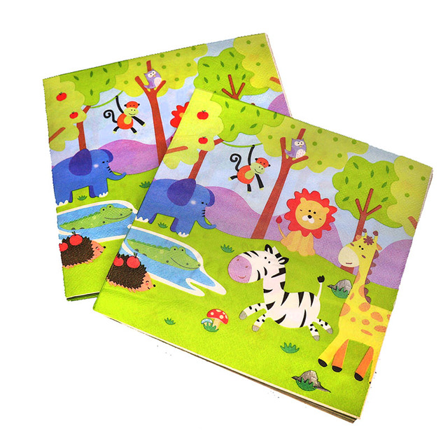 20 יח\חבילה חיות ג ונגל חד פעמי מפיות תינוק מקלחת ספארי חיות נושא מסיבת יום הולדת קישוטי פו מפיות