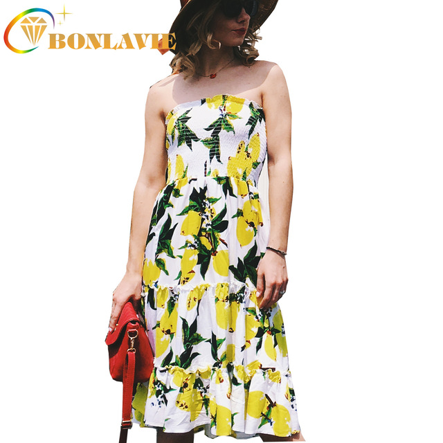 Women Summer Strapless Dress Lemon Printed Pattern Big Hem Yellow Color Casual Wear Empire Waist Size S To XL Ladies Clothes