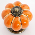Free Shipping  10pcs Orange Ceramic Pumpkin Drawer Handles Zinc Alloy Cabinet Knobs Vintage Door Knob Cartoon Lovely Hardware