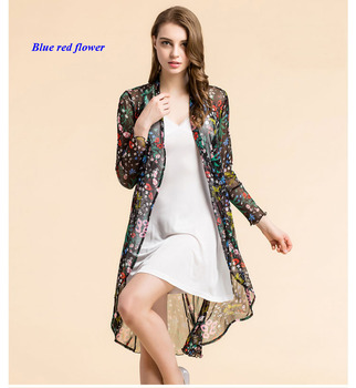 New arrival pure silk knitted lady print long-sleeve wind coat,100% silk open-stitch ruffled trench coats women