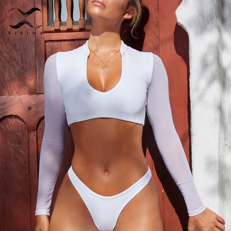 Bikinx White long sleeve bikini set 2018 High cut brazil swimsuit female Thong bathing suit women bathers Micro bikini crop top see through mesh embroidered long sleeve sheer crop top
