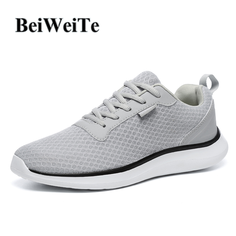 BeiWeiTe Mens Summer Running Shoes Breathable Light Jogging Sports Black Shoes Men Big Size Cushioning Trainer Tourism Sneakers