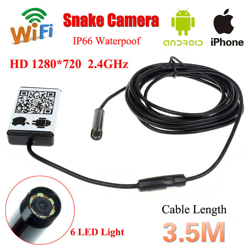 Free shipping!WIFI ios and  Android Endoscope Borescope HD 720P Inspection 3.5M Snake Camera 9MM free shipping 8 5mm hd 2mp 720p jpeg usb inspection endoscope borescope photo 98as free magnet mirror hook car diagnostic tools