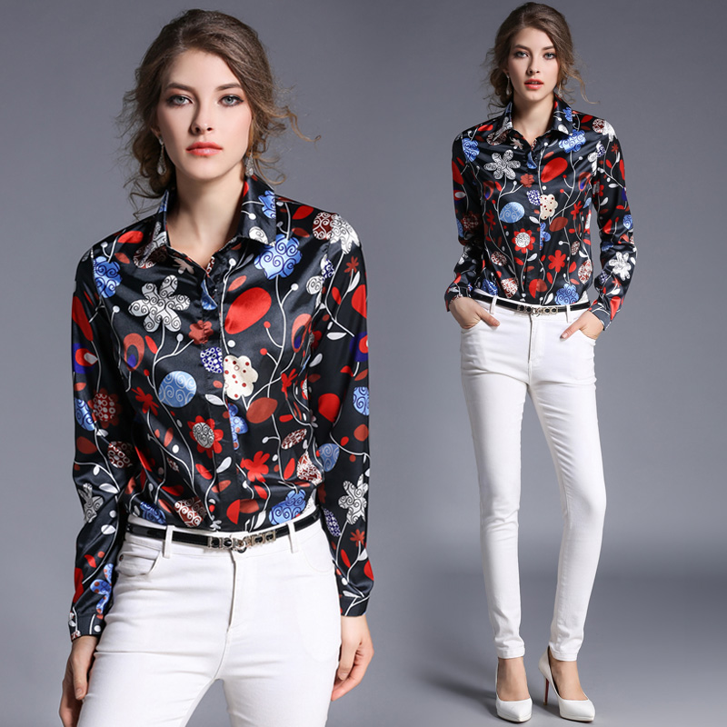 European america style fashion women top vintage printing black blouse long sleeve shirt casual clothes ropa mujer