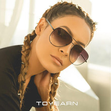 TOYEARN 2019 New Fashion Ladies Pilot Sunglasses Women Men Goggle Gradient Metal Sun Glasses For Female Mirror Shades UV400(China)