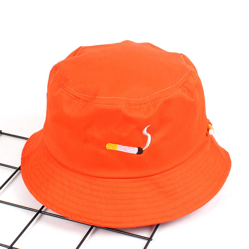 Unisex Bucket Hat Fisherman Caps Leisure Fashion Women Cigarette Embroidery Bob Caps Cotton Outdoor Beach Sun Hats