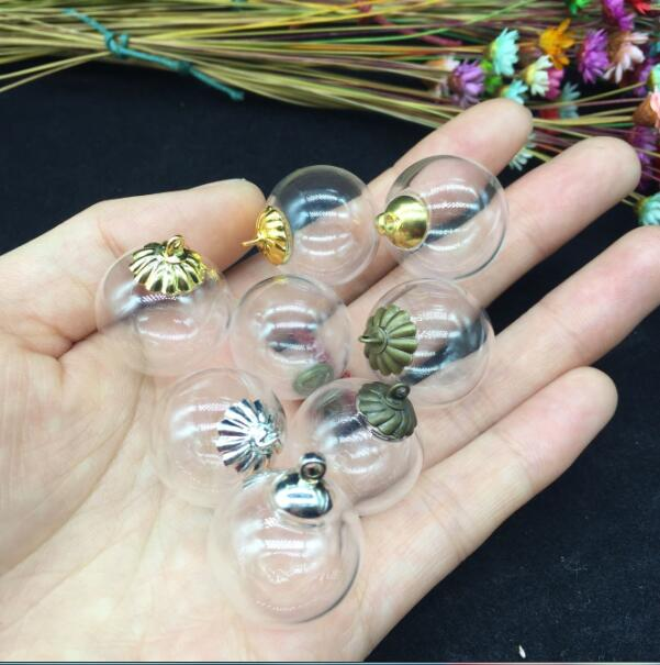 100sets 20mm Transparent diy clear round glass globe bubble with 5mm doulbe hole, glass vial, glass bottle, glass vials pendant цена