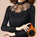 Плюс размер 5XL 4XL 3XL Женщин Кружева основной рубашка женская с длинным рукавом плюс бархат утолщение осенью и зимой футболку стенд воротник