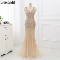 Mermaid Luxury Evening Dress 2019 Evening Gown for Women Sparkly Beaded Crystal Dress Elegant Formal Dresses robe soiree
