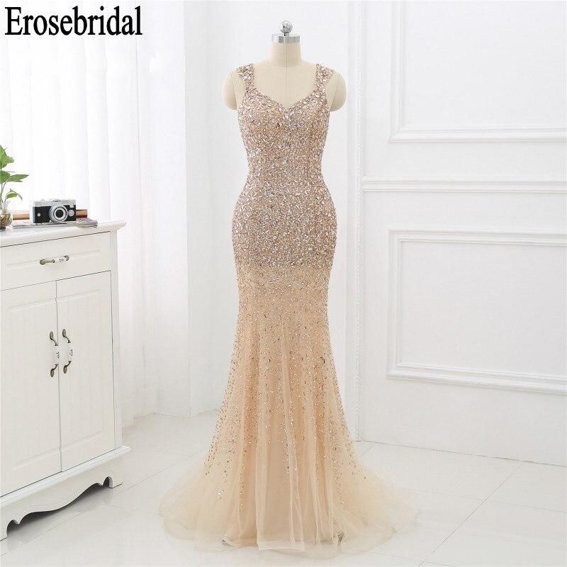 Robe de soirée de luxe sirène 2019 robe de soirée pour femmes robe en cristal perlé brillant robe formelle élégante robe de soirée