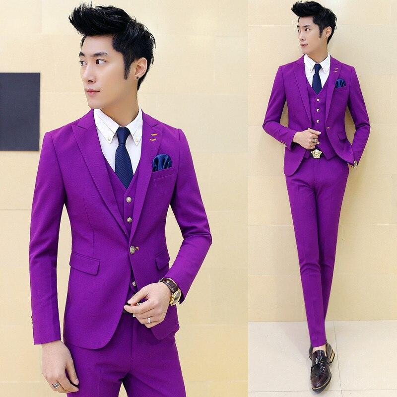 Elegant Black Single Breasted Men Suits Blazer With Pants Vest 2018 New Gold Embroidery Men Suit