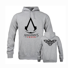 Men Assassins Creed Printing Hoody Street Winter Jacket With Hat Tracksuit Large Size Sweatshirt Game Clothing Pullover Coat 4XL
