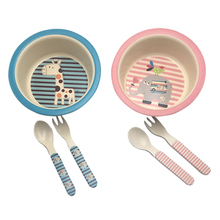 3pcs/set Character baby Plate Forks Spoon Dinnerware feeding Set,100% bamboo fiber Baby children tableware set