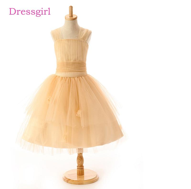 Gold 2019   Flower     Girl     Dresses   For Weddings A-line Cap Sleeves Tulle Bow First Communion   Dresses   For Little   Girls